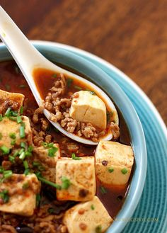 Mapo Tofu, tofu cubes with minced pork in a hot spicy sauce.  My favorite over steaming white rice