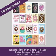 Free Printable Donuts Planner Stickers from My Life Planners
