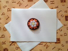 Handmade Greeting Card. Felt flower, lined with floral Polynesian inspired paper. 5x7 Blank Greeting Card!