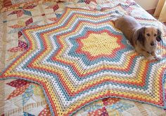Granny Star, an Eight Point Round Ripple Afghan Crochet Pattern.. $4.99, via Etsy.