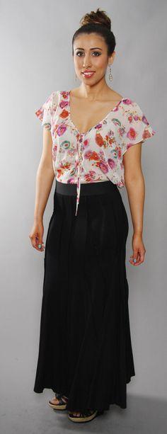 7da0d30ce19f6 Pleated black maxi skirt by Karen Kane.  29