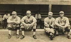 Baseball Players from left Babe Ruth, Ernie Shore, Rube Foster, Del Gainer players for the Boston Red Sox, American League. Created between 1915 an 1917 for the Bain News Service.
