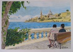 2008 Original Painting Gouache - View of Valletta from Ta' Xbiex by Sue Flask