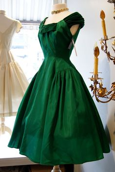 1950'S EMERALD GREEN DRESS❤ Xtabay Vintage
