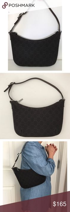 """⛔️SOLD⛔️ Gucci GG Monogram Canvas Shoulder Bag 100% Authentic Gucci GG Monogram black/dark brown canvas leather trim small shoulder bag. Has 1 slip pocket, silver color hardware, zipper closure, and made in Italy. H 7"""" x L 10"""" x D 1"""", strap drop 6"""". In pre-owned condition with no significant wear or flaws. Comes with authenticity card from reputable retailer Linda's Stuff consignment shop. NO TRADES! 🅿🅿✔Ⓜercari✔ Gucci Bags Shoulder Bags"""