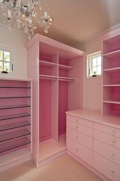 Custom Closet - Design photos, ideas and inspiration. Amazing gallery of interior design and decorating ideas of Custom Closet in closets, nurseries by elite interior designers. Pink Closet, Pink Wardrobe, Walk In Closet, Closet Bedroom, Dream Bedroom, Bedroom Decor, Closet Small, Wardrobe Closet, Closet Paint
