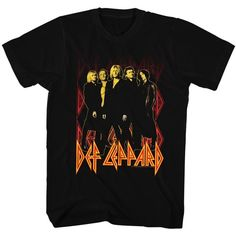 Def Leppard 80 Heavy Hair Metal Band Rock n Roll Group on fire Adult... (24 AUD) ❤ liked on Polyvore featuring tops, t-shirts, metal top, metal tees, heavy metal tees, rock n roll t shirts and metal t shirts
