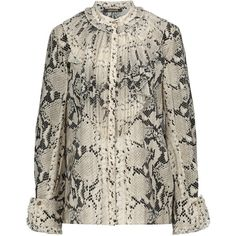 Roberto Cavalli - Pleated Snake-print Silk-blend Blouse (32.425 RUB) ❤ liked on Polyvore featuring tops, blouses, snake print, snakeskin print blouse, python print blouse, pleated blouse, snake print blouse and pleated top
