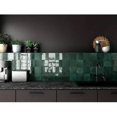 Bedrosians Cloe 5 x 5 Ceramic Mosaic Tile in Green Interior Modern, Home Interior, Decor Interior Design, Interior Decorating, Interior Ideas, Interior Lighting, Design Bedroom, Interior Paint, Kitchen Interior