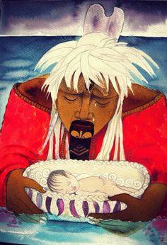 Robyn Kahukiwa, Taranga with Maui in the Whakura, 2014 Maori Designs, New Zealand Art, Nz Art, Mother Art, Maori Art, Polynesian Culture, Indigenous Art, Tribal Art, Illustration Art