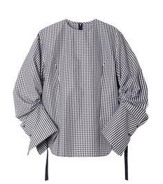 ギンガムチェックドローストリングシャツ-4