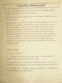Roadblock Releasing Spell Book of Shadows Grimoire Page Poster Wicca Witchcraft picclick.com