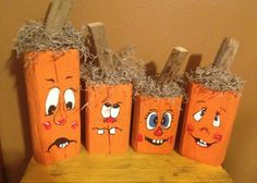 Fence Post Silly Face Pumpkins Primitive by wrightsweepingwillow, $40.00