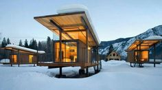 Modern Glass Container Houses, Oak Roof, Exposed I-Beam, Floating Floors, Mountains
