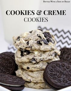 Cookies & Cream Cookies~~ these are made from Oreos and are amazing! Butter With A Side of Bread #recipe #cookies