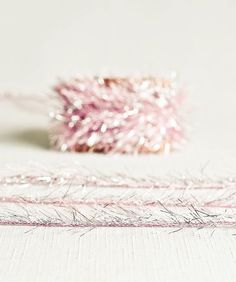 Tinsel Twine in Rose Pink & Silver  6 Yards  by thatchandthistleco