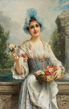 THE FLOWER SELLER, BY LEON FRANÇOIS COMERRE (french painter)