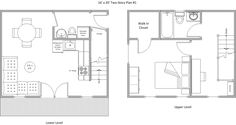 Use the plan on the right if having common area with kitchen between the two cabins.