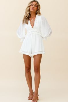 White Bridal Shower Dress, Nude Strappy Heels, White Romper, Cute Rompers, Cute Purses, Girls Night Out, No Frills, Shower Dresses, Long Sleeve