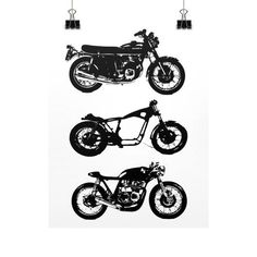 The image on this vertical represents the evolution of a motorcycle from it's original stock design, to a rolling chassis, and finally as an amazing cafe racer. This is a high quality poster print on