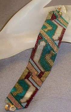Art Deco Random Art - peyote stitch cuff bracelet pattern by SuJen on Etsy