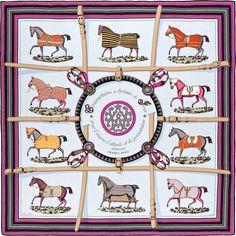 2015 S/S | Couvertures et Tenues de Jour | Giant scarf in silk twill plume, hand-rolled (140 x 140 cm) | Ref. : H431356S 02 Gris Perle/Fuchsia/Noir