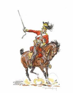 British 6th (Inniskilling) Dragoon Regiment, one of Wellingtons heavy dragoon units. Waterloo 1815, Battle Of Waterloo, Great British, British Army, Empire, British Uniforms, Military Weapons, Napoleonic Wars, Armies