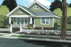 Craftsman Style House Plan - 3 Beds 2 Baths 1260 Sq/Ft Plan #20-1879 Exterior - Front Elevation - Houseplans.com