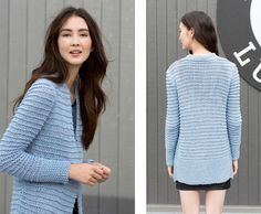 Knitting a Cardigan? This fashionable Amira Cardigan is made with the beautiful Lang Yarns Amira. Get the free pattern here! Free Knitting Patterns For Women, Knit Patterns, Long Cardigan, Knit Cardigan, Lang Yarns, Cardigan Pattern, Cardigans For Women, Free Pattern, Knitwear