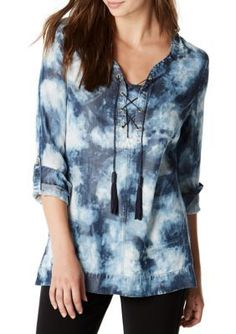 Nine West Jeans  Raelyn Lace Up Woven Top