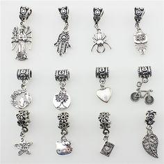 1 STKS Mode Metalen Zinklegering araneid uil Hearts Kralen Fit Pandora Charms Vintage Zilveren Diy Grote Gat Kralen Armbanden Charms