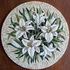 Marble Mosaic White Lilies Round Lily Painting Round Wall - Marble Mosaic White Lilies Round Lily Painting Round Wall Decor Marble Gift Decorative Tiles Panno Roman Mosaic Flowers Lily Picture Ask A Question Mosaic Artwork, Mosaic Wall, Mosaic Tiles, Mosaic Mirrors, Mosaics, Marble Mosaic, Stone Mosaic, Mosaic Glass, Stained Glass