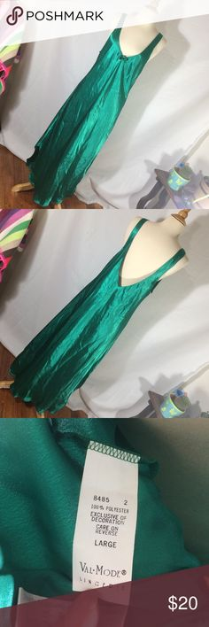 """Green satin nightgown No holes or stains. Size large. Length 49"""", bust up to 21"""" laying flat Intimates & Sleepwear Pajamas"""