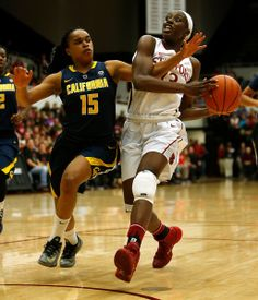 Stanford Cardinal's Chiney Ogwumike (13) goes for a lay-up against University of California Golden Bears' Brittany Boyd (15) in the first ha...