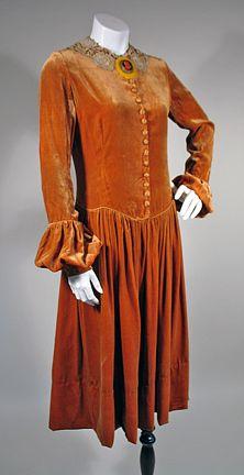 1920s Golden Pumpkin Velvet Vintage Dress SZ S - M