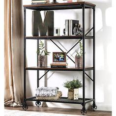 Furniture of America Daimon II Industrial Medium Oak 4-tier Bookshelf | Overstock.com Shopping - The Best Deals on Media/Bookshelves