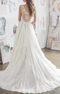 Double shoulder with lace chiffon wedding dress · prom dress · Online Store Powered by Storenvy