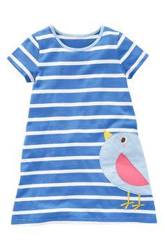 Mini Boden 'Stripy Appliqué' Dress