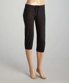 Look what I found on #zulily! Black Crop Sweatpants - Women by TROO #zulilyfinds