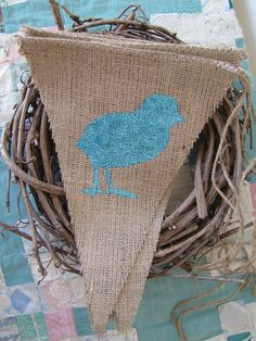 ..six easter chicks glittered burlap banner