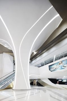 Lighting can be placed inside of columns which could be unique way to light pieces of art. Looking Into The Future - Indesignlive. Interior Columns, Lobby Interior, Interior Exterior, Home Interior, Interior Architecture, Interior Office, Corporate Interior Design, Corporate Interiors, Commercial Interior Design