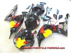 2006 2007 HONDA CBR 1000 RR Fairing Kits Black Redbull FFKHD020