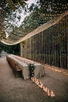 How stunning is this country chic wedding look. Combine rustic fairylights with a trail of candles that lead down your wedding tables for the ultimate wedding decoration idea. Visit Hitched for more wedding decor looks and ideas Wedding Looks, Perfect Wedding, Fall Wedding, Dream Wedding, Wedding Rustic, Rustic Weddings, Country Weddings, Wedding Black, Wedding Ceremony