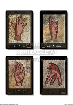 Tablets 01. CG print. Graphic of tablets and hands.