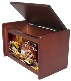 Hinged recipe box with personalized tile, cherry or black, by KatesCoasters, $20.00