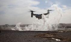 A U.S. Marine Corps MV-22B Osprey with Marine Medium Tiltrotor Squadron 365, 3rd Marine Air Wing (Forward), lands at Forward Operating Base Jackson, Helmand province, on April 25, 2012. (USMC/Sgt. Logan Pierce)