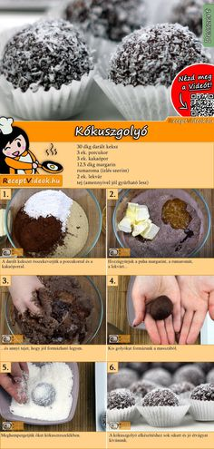 Coconut Balls Recipe with Video - Cake Recipes / Christmas Recipes - These delicious coconut balls will be eaten in no time! You can easily find the coconut balls recip - Hungarian Desserts, Hungarian Recipes, Baking Recipes, Cookie Recipes, Dessert Recipes, Food Cakes, Coconut Balls, Good Foods To Eat, Balls Recipe
