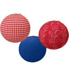 Bandana Western Paper Lanterns feature 1 solid blue, 1 red checkered, and 1 red paisley lantern for a festive western display at your cowboy party. Rodeo Party, Cowgirl Party, Country Western Parties, Country Themed Parties, Cowboy Theme, Western Theme, Wild West Party, Cowgirl Birthday, Country Birthday