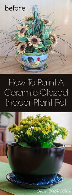 How To Paint A Ceramic Glazed Indoor Plant Pot ~ It is easy to update the look of an outdated, out of style plant pot with these DIY spray painting instructions. / timewiththea.com
