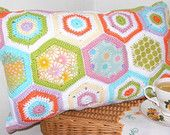 Hexagon Envelope crochet/patchwork cushion pattern available from Etsy